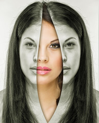 Woman behind the mask before and after makeup