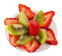 sliced strawberries and kiwi