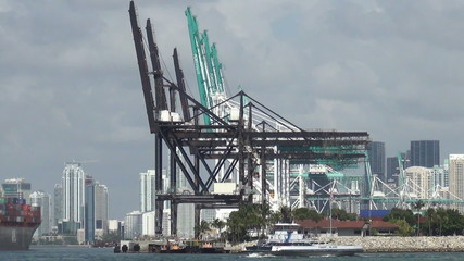 Port of Miami industrial cranes for cargo