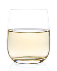 Glass of birch juice isolated on white