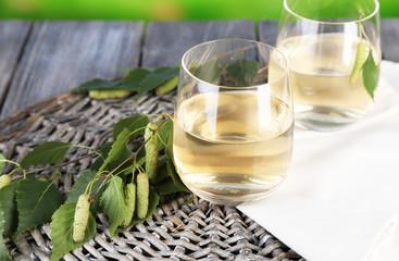 Glass of fresh birch sap