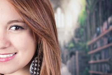 Closeup of young teenage girl's face