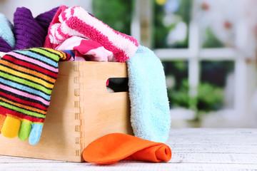 Multicoloured socks in box