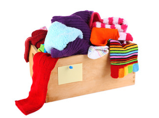 Multicoloured socks in a box isolated on white