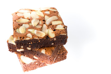 brownie on white isolated background