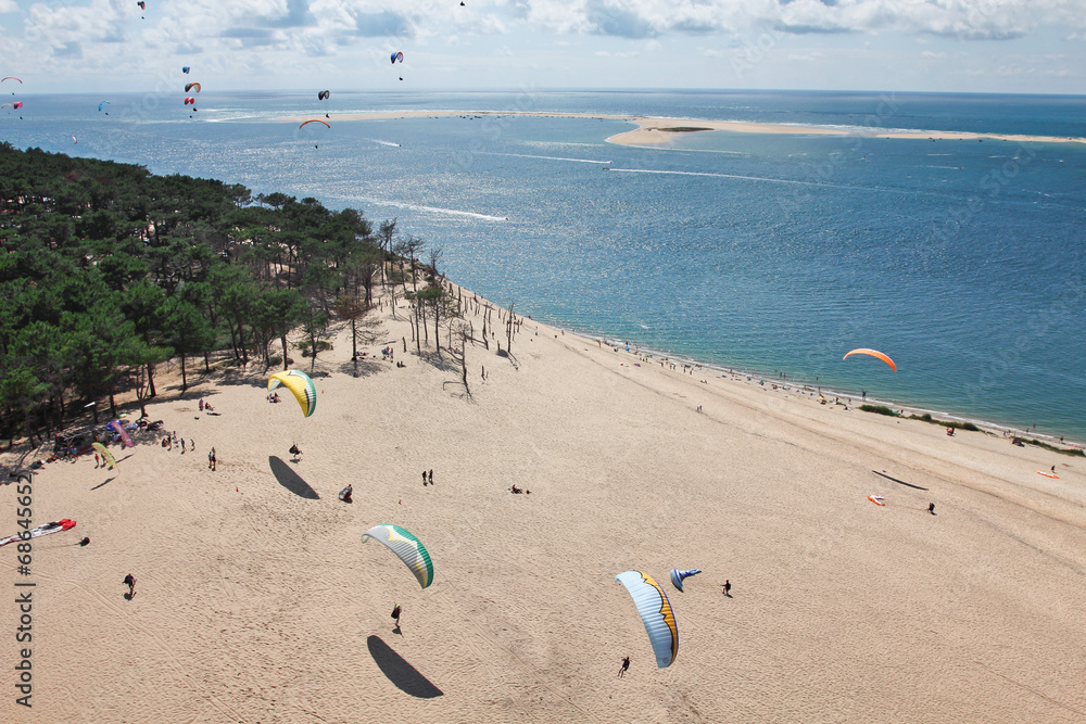 fotobehang parapente dune du pilat foto4art. Black Bedroom Furniture Sets. Home Design Ideas