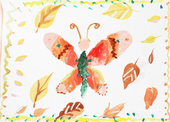 beautiful butterfly of autumn yellow leaves