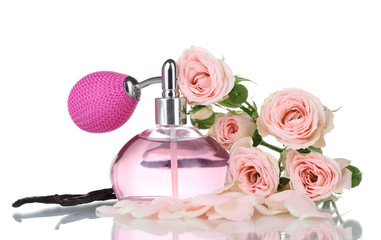 Perfume bottle with roses isolated on white