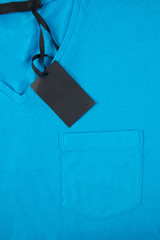 blue t-shirt with price tag