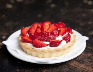 tartlets with juicy strawberries