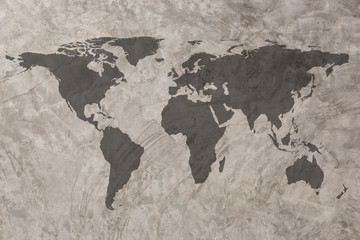 World map on Grunge Concrete Wall texture background