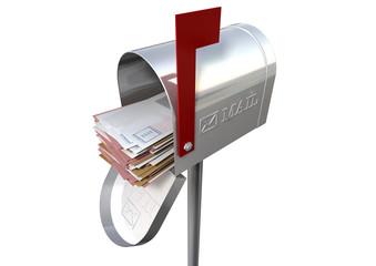 Retro Mail Box And White Envelope Stack