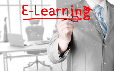 business man writing e-learning concept