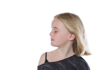 Young girl with her eyes closed