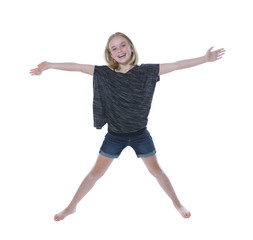 Happy young girl on white background