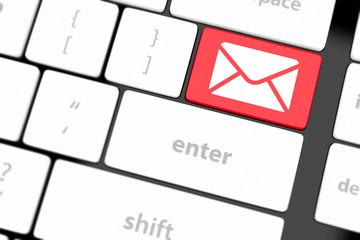Mail keyboard button on grey keyboard