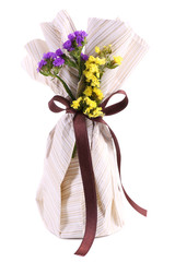 Beautiful gift with flowers, isolated on white