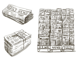 Press. Newspaper stand. Newsstand. Vector illustration.