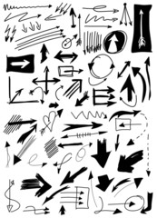 Hand drawn doodle arrow collection isolated on white