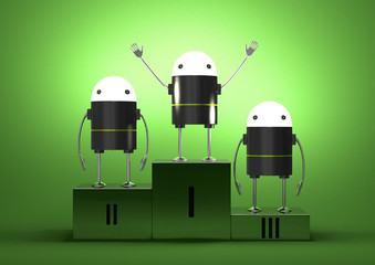 Robots with glowing heads on podium
