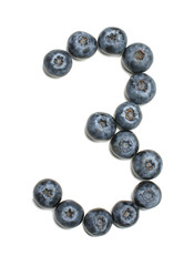 Number 3 arranged from northern highbush blueberry isolated