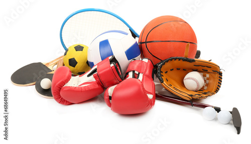 Sports equipment isolated on white - 68649495