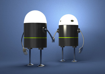 Robots with glowing heads handshaking