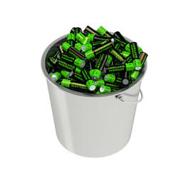 Batteries in a bucket