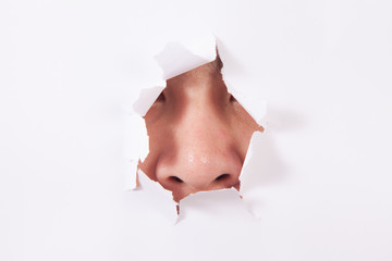 Human nose smelling out through the hole in white surface.