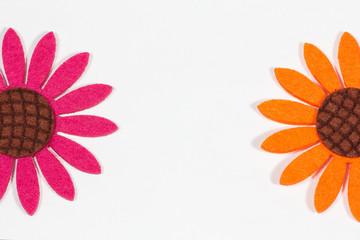 Felt colorful flowers background