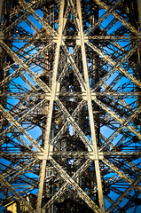 Architectural detail of the design of the Eiffel Tower in Paris