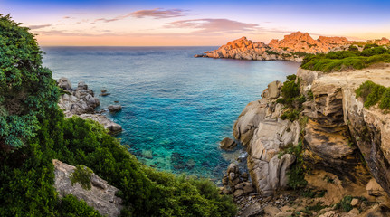 Panoramic landscape view at rocky ocean coastline