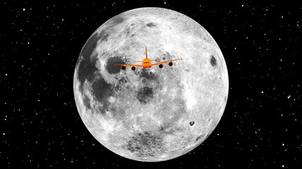 a plane crossing the face of the moon