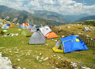 tents camping in Tzoumerka mountain