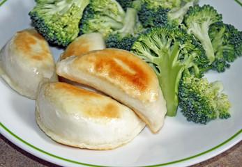 Stuffed Perogies with fresh Broccoli