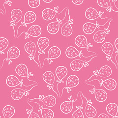 Seamless pattern with balloons. Cute doodle style. Pink and whit