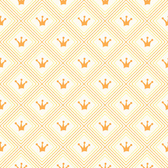 Simple seamless vector pattern with crown. Orange and yellow col