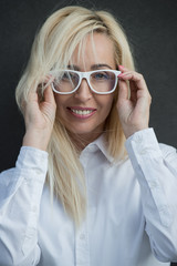 Mature business woman wearing glasses