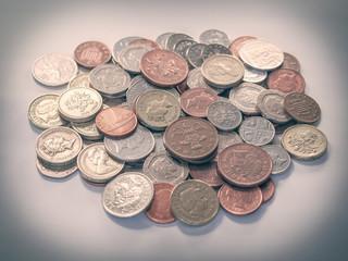 Retro look Pound coins