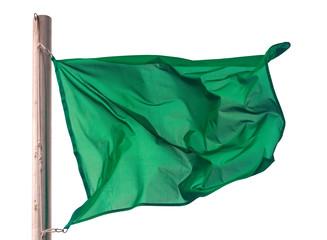 waving green flag over white