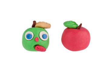 Apples made of plasticine