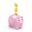 piggy bank falling gold coins (savings)