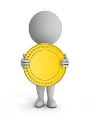 3d cute people - holding gold coin