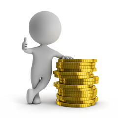 3d cute people - standing with stack of gold coins (financial su