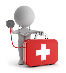 3d cute people - standing first aid kit and holding stethoscope