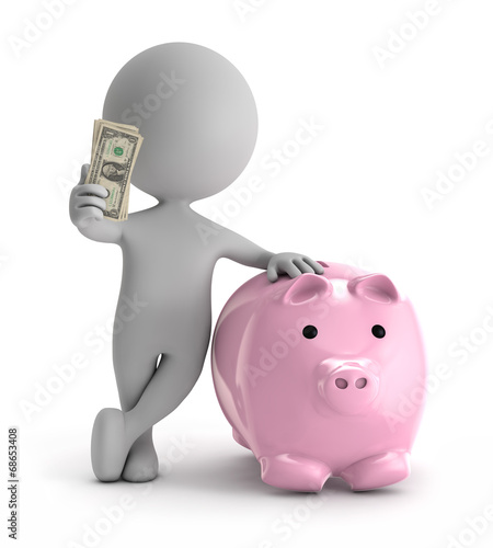 3d cute people - standing with pink piggy holding dollar stack o