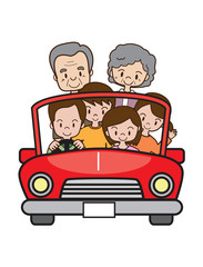 家族でドライブ(三世代)