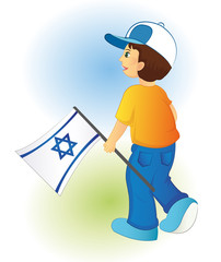 child holding a flag of Israel