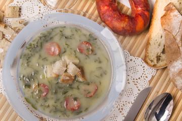 traditional portuguese soup, called Caldo Verde