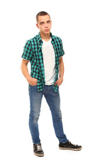 full-length portrait of a young guy , isolated on white